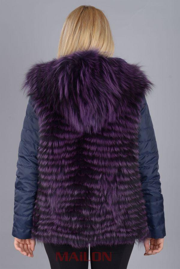 Hooded Reversible Purple Feather Fox Fur Jacket