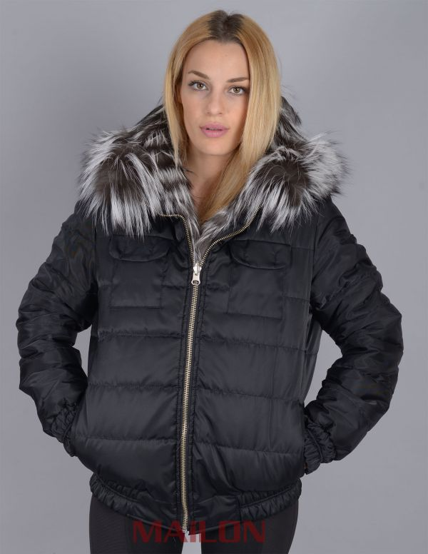 Hooded Saga Reversible Silver Fox Feathered Fur Jacket