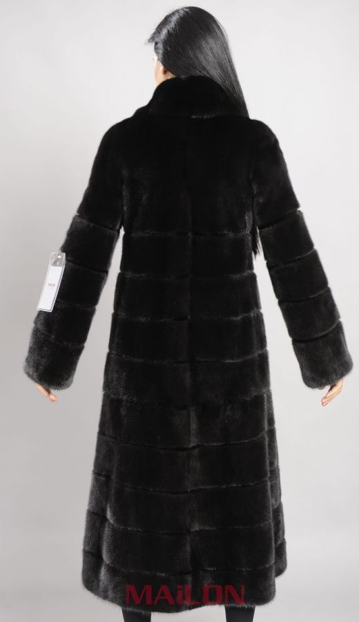Black Mink Full Length Coat with sheared mink inserts