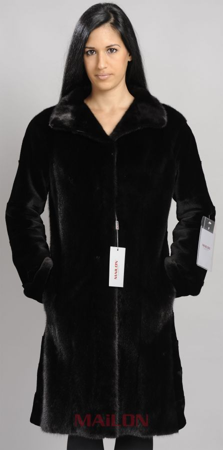 Black Mink Coat with sheared sleeves