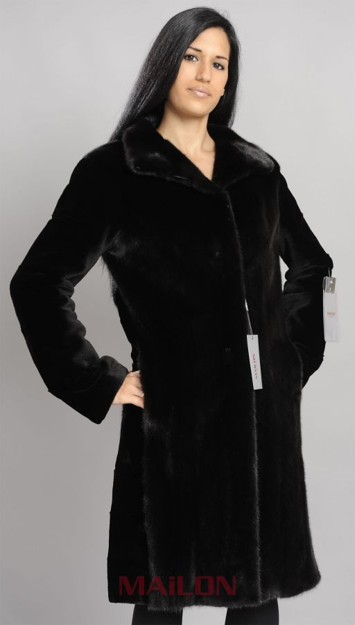 Black Mink Coat with sheared sleeves - Size Small/Medium