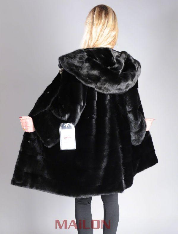 Hooded Black Mink coat with pelts across