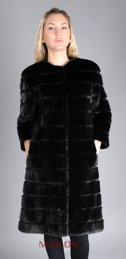 Black SAGA mink fur jacket coat - pelts across