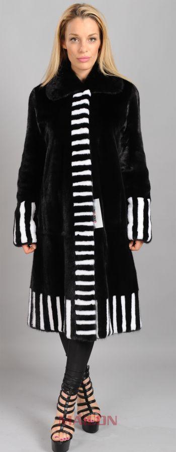 Saga Black mink coat with white mink trim