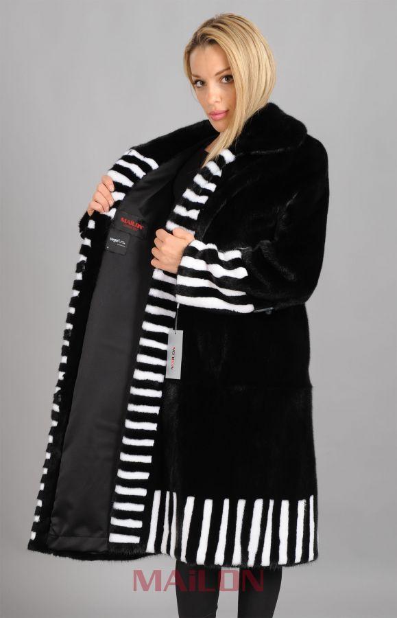 Saga Black mink coat with white mink trim - Size Small/Medium