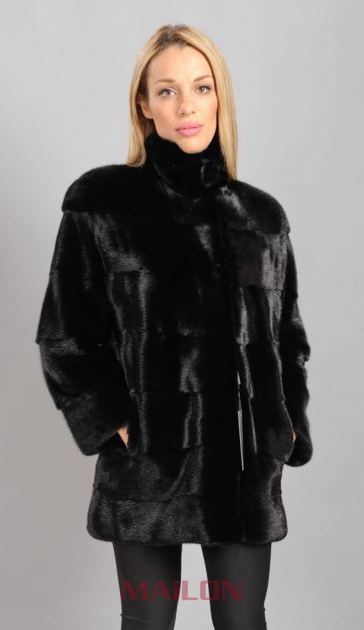 Black SAGA mink fur jacket with pelts across