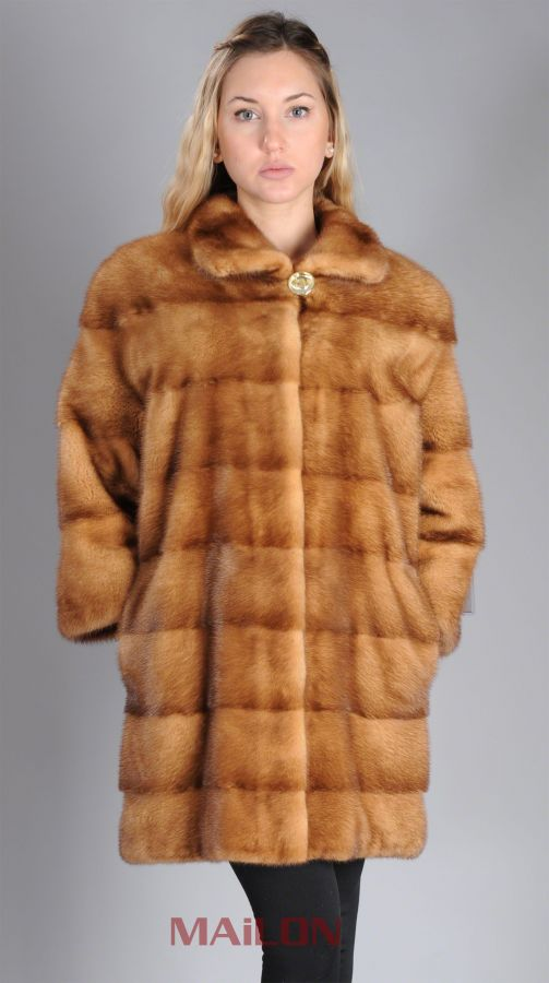 Golden Mink Fur Jacket w pelts across & 3/4 sleeve