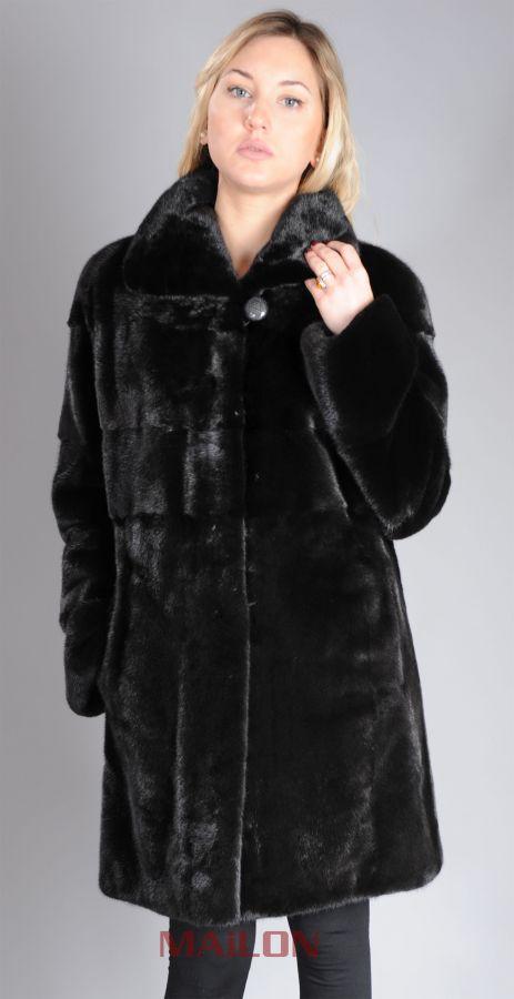 Black SAGA mink fur coat - partly pelts across