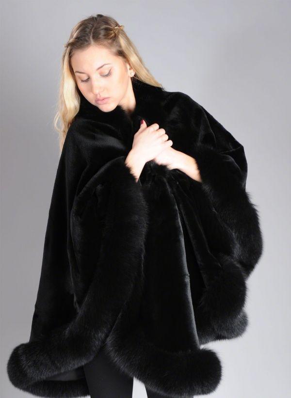 Sheared Black SAGA ROYAL Mink Cape with Fox trim - One Size