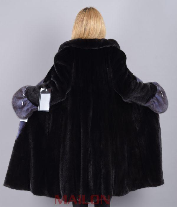 Letout Black Mink Coat with Mauve Mink Trim- Size Medium