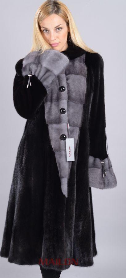 SAGA Let out Black Mink Coat with Blue Iris Mink Trim - Size Medium