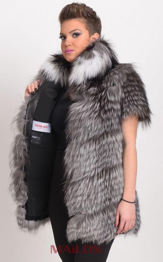 Diagonal cut Platinum SAGA Fox Feathered Fur Vest