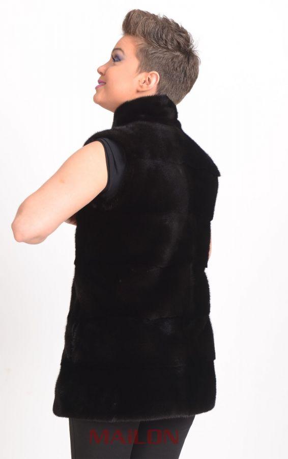 Blackglama mink fur vest with pelts across