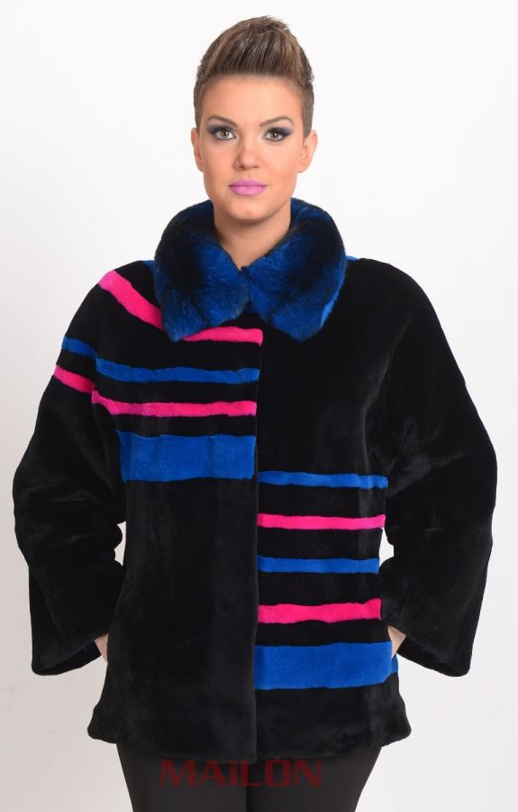 Sheared Black Mink fur jacket with colorful details and blue chinchilla collar