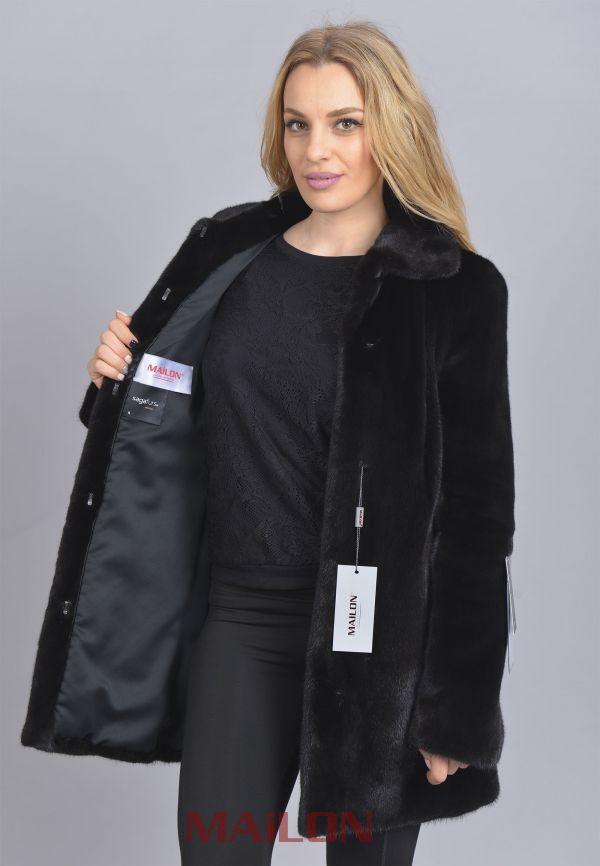 SAGA ROYAL Black Mink fur jacket Size XS EU36