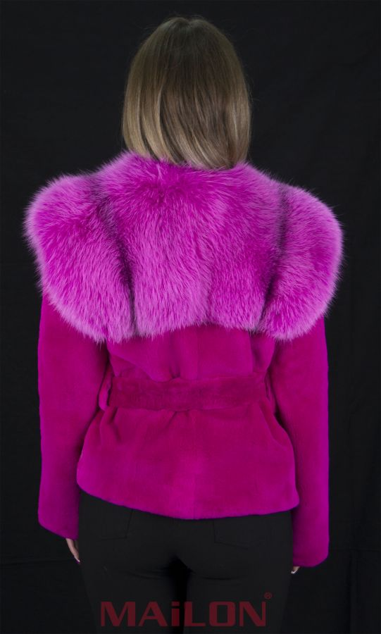 Fuchsia (Hot Pink) mink Jacket with dyed Arctic Marble Fox collar - Size Small with belt