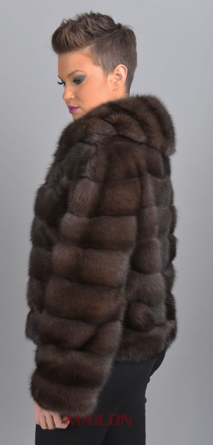 Sable Fur Jacket with round collar