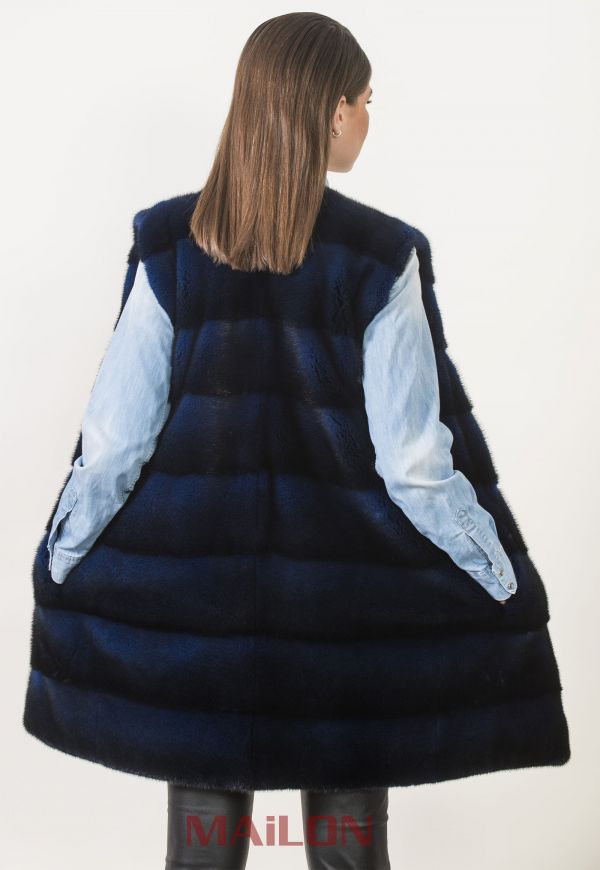 Dyed Blue Mink Long Vest with pelts across & chanel collar