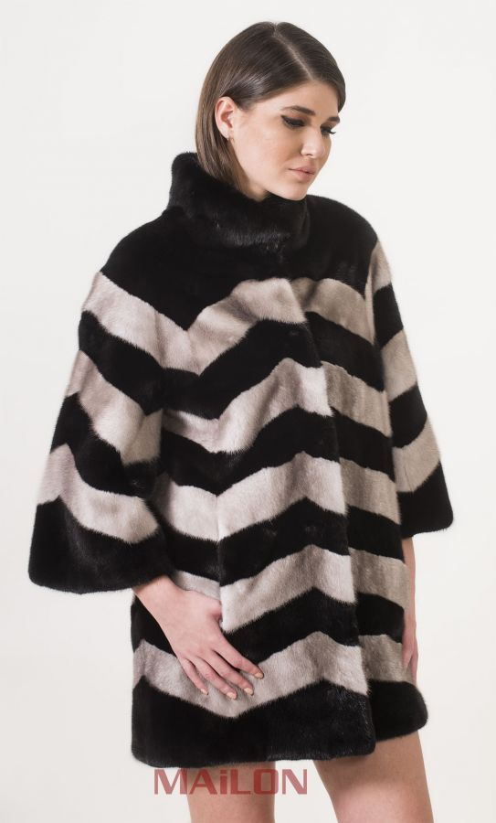 SAGA ROYAL Mink Jacket Coat in Black and Silverblue mink - Size Small/Medium