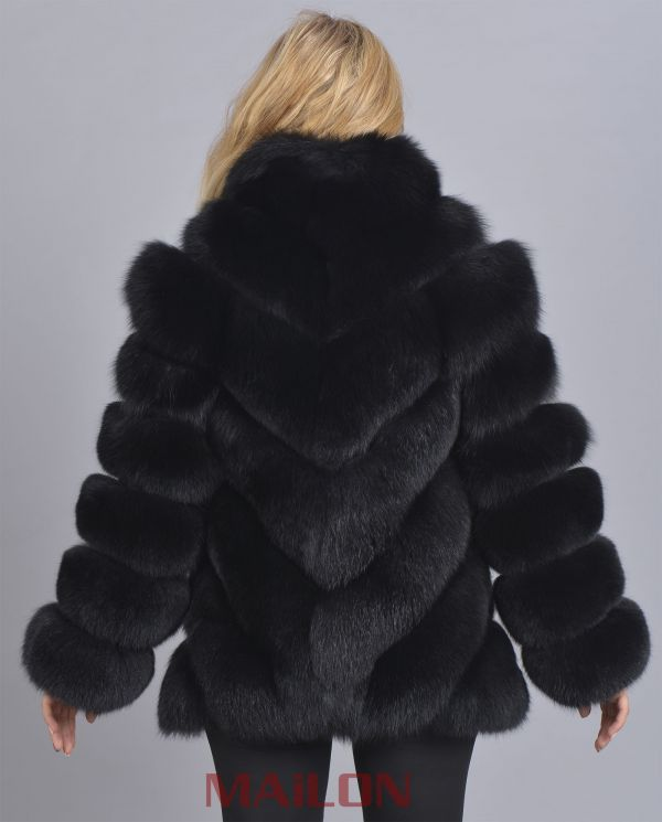 Black Fox Jacket - Diagonal cut
