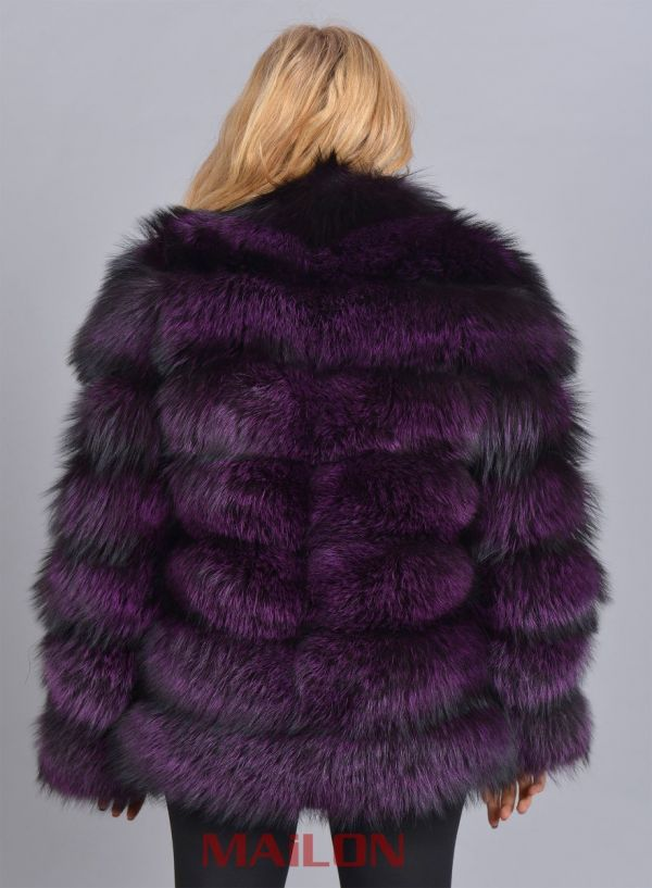 Dyed Purple (from Silver) Fox Fur Jacket