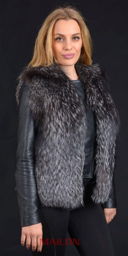 SAGA Silver Fox perforated fox fur vest