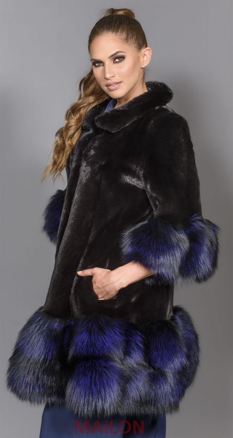 SAGA Black Mink Jacket Coat with Purple Fox - Size Small/Medium