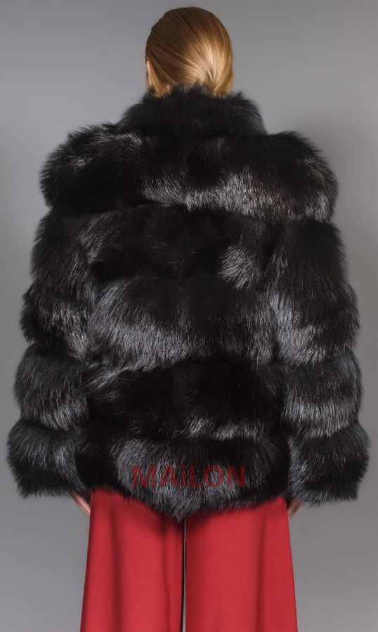 SAGA Black Fox Fur Jacket