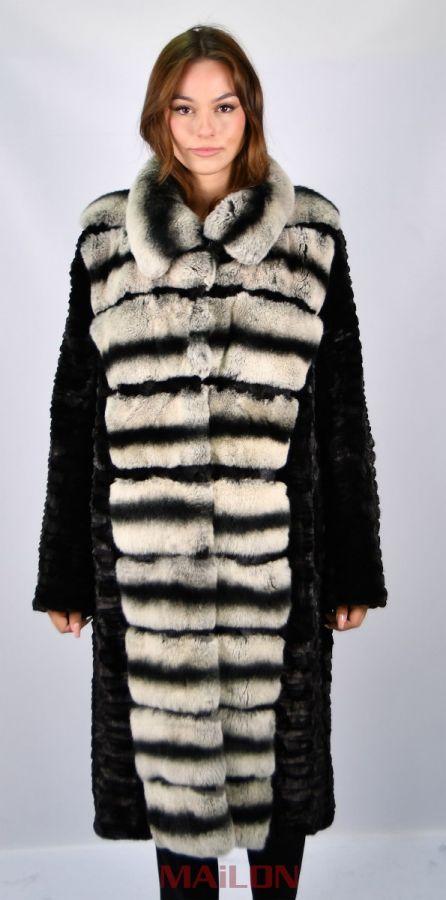 Black mink pieces coat - Rex rabbit trimmed tuxedo and back