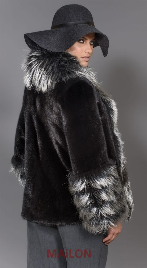 SAGA Black Mink fur jacket with Silver Metallic Fox - Size Medium
