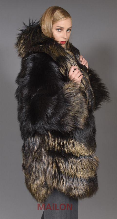 Black Fox Jacket Coat with Bronze Metallic dye - Size Medium