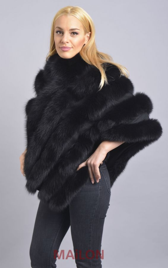 Black SAGA Fox Fur Cape with Leather - One Size fits most