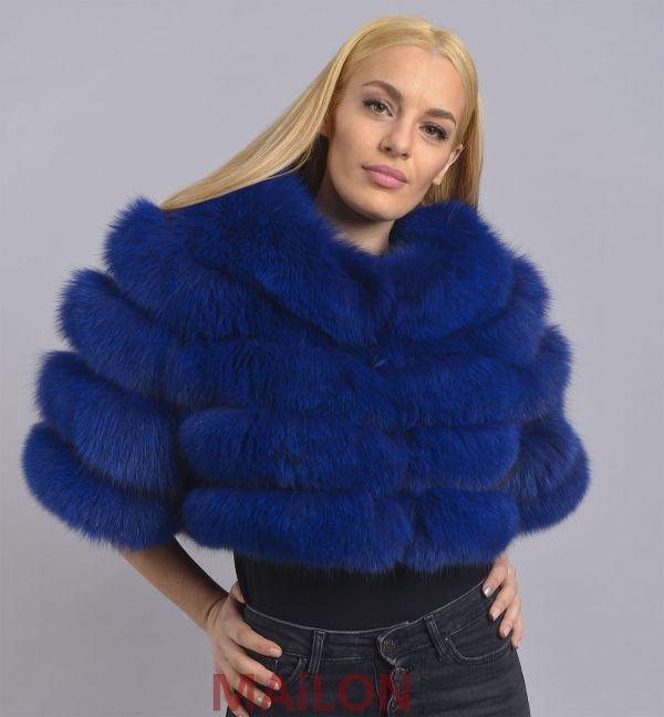 Dyed Blue SAGA Fox bolero / jacket