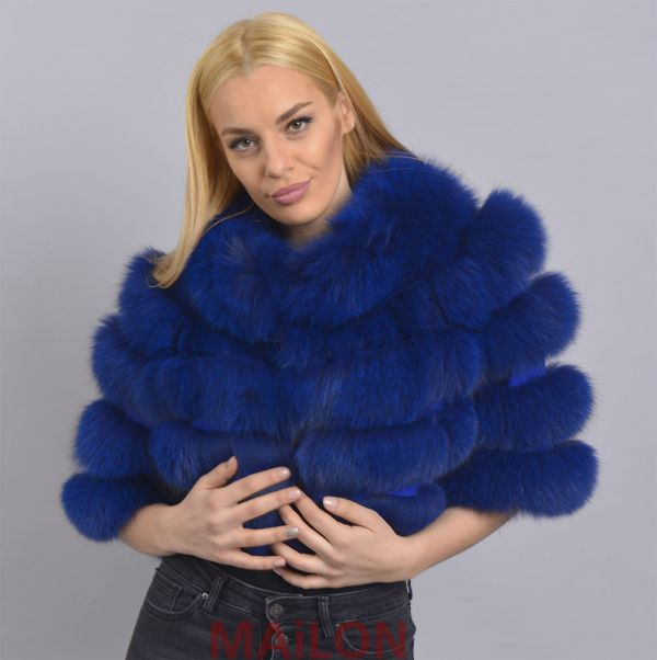 Dyed Blue SAGA Fox bolero / jacket - Size Medium