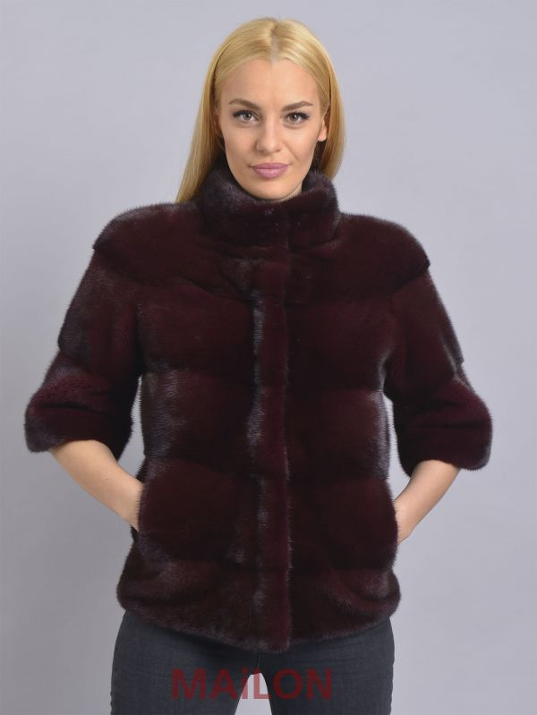 SAGA ROYAL bordeaux maroon mink short fur jacket, half sleeve - Size Medium