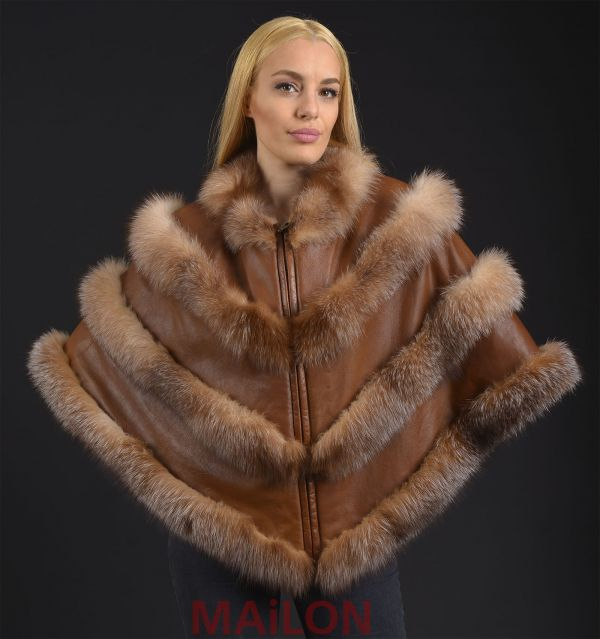 Crystal SAGA Fox Fur Cape with Leather - One Size fits most