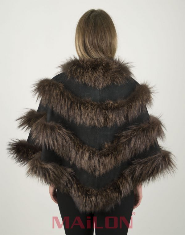Brown SAGA Fox Fur Cape with Black suede leather – One Size Fits Most