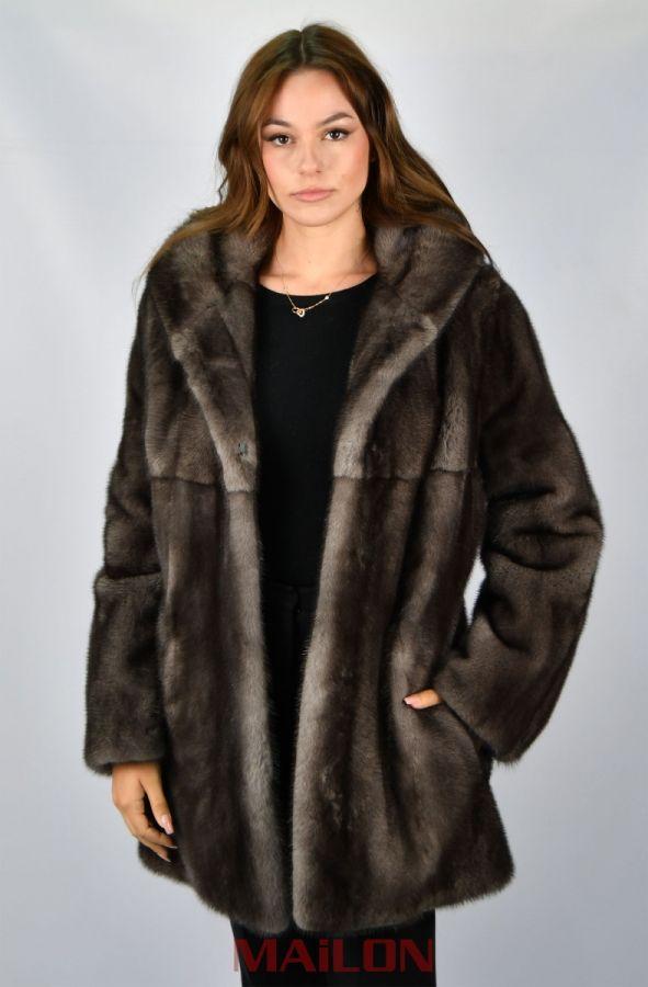 American Legend Blue Iris mink fur coat parka with hood with belt Size EU44 L Large