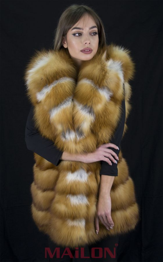 Hooded Canadian Red Fox Fur Long Vest