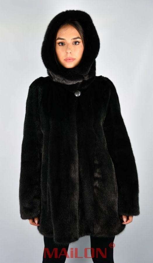 Hooded Black SAGA ROYAL mink fur jacket parka