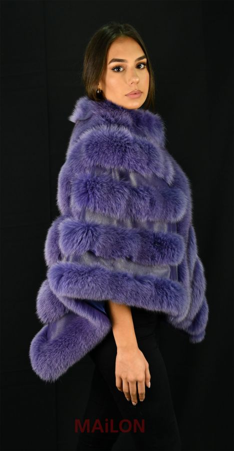 Mauve SAGA Fox Fur Cape with Leather - One Size fits most