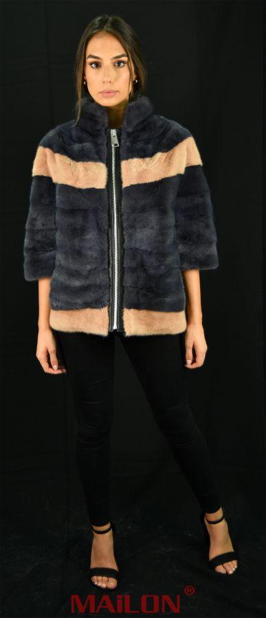 Grey & Beige SAGA mink fur jacket with zipper -Size Medium EU42 UK12 US8