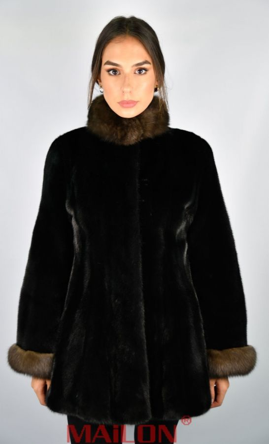 Black Mink fur Jacket with Sable collar and cuffs