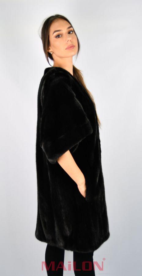 Black SAGA ROYAL mink jacket coat kimono - Size Medium