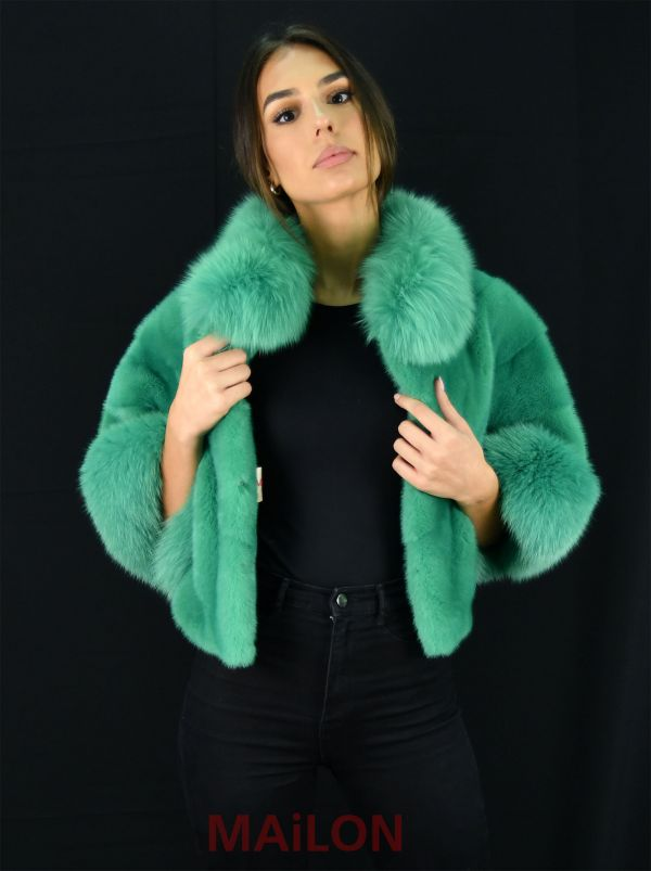 Green Mink Jacket with pelts across and fox collar