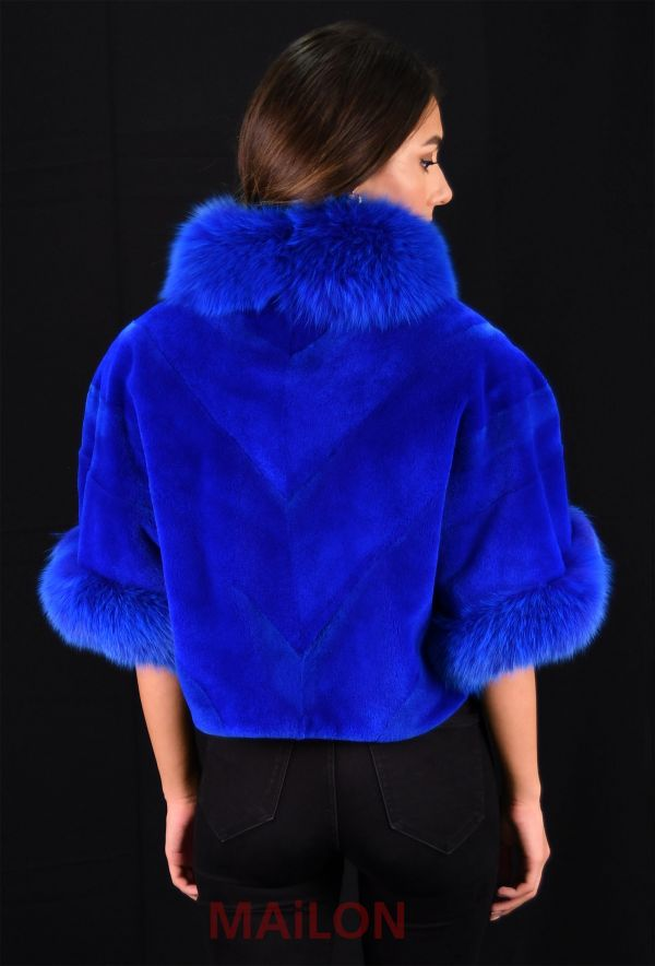 Blue (dyed) Jacket bolero with Fox collar - Size Medium