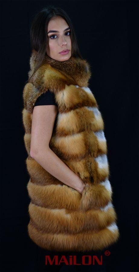 Canadian Red Fox Fur Vest - Size Large