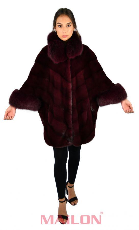 Burgundy maroon  SAGA ROYAL mink coat cape with Fox trim