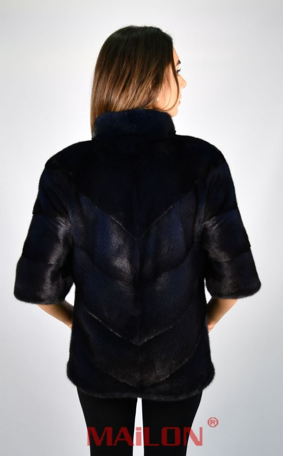SAGA ROYAL Blue Mink Fur Jacket