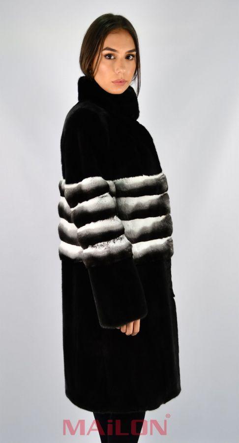 Blackglama Mink Fur Coat with chinchilla